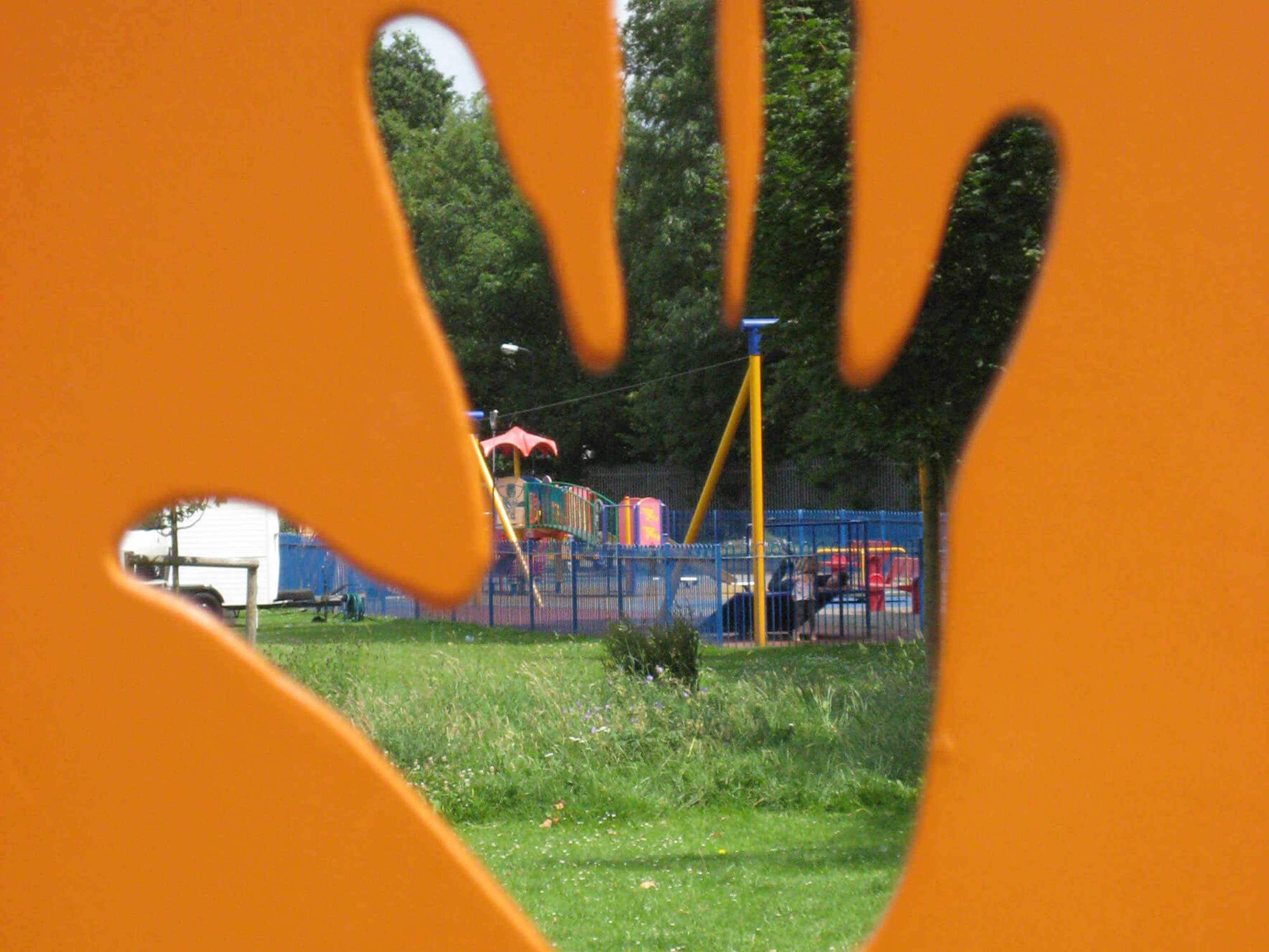 Handprint Image showing new grounds and gardens completed by Petrow Harley